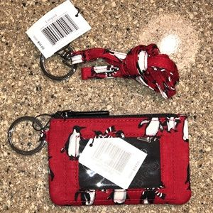 Vera Bradley Zip Id & Lanyard Playful Penguins Red
